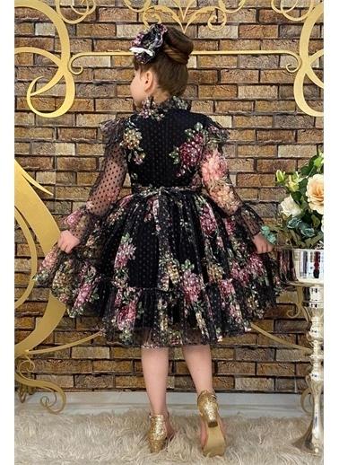 Riccotarz Kız Çocuk Çiçekli Prenses Elbise Siyah